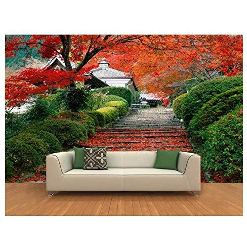 - 3D Photo Wallpaper Custom 3D Wall Murals 3 D Hd Red Maple Road Landscape Background Wall Paintings Wallpaper,250cmX175cm