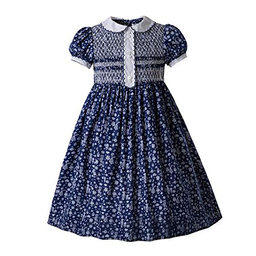 Vintage Flower Printed Doll Collar Smocked Girl Clothes Bubble Romper Dress, 6