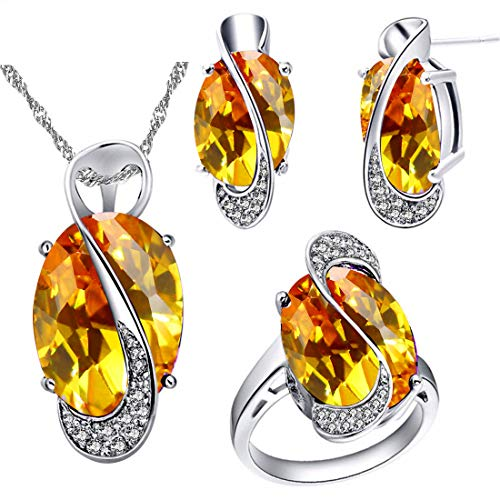 Uloveido Unique White Gold Plated Simulated Big Oval Yellow Topaz Diamond Necklace Rings and Clip on Earrings Set for Girlfriend (Platinum Plated, Yellow Stone, Size 9) Y183