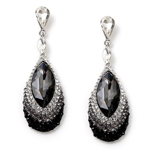 Rhodium Crystal and Black Diamond Rhinestone in Oval Shape with Eye Shaped Black Diamond Stone Insert Earrings