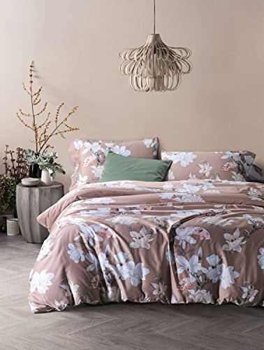 - UFO Home 3pc 100% Cotton Sateen Duvet Cover Set, Printing Blooming White Flowers, Light Latte Background Color(Full, Jolie)