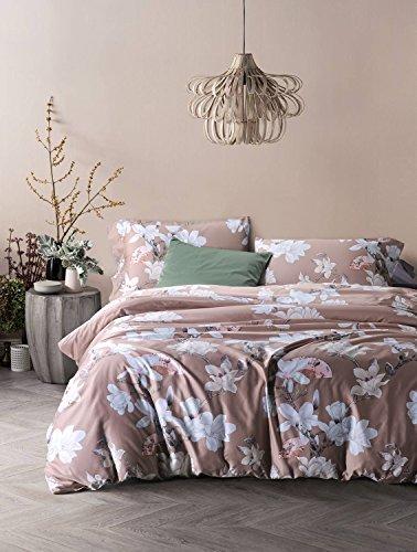 - UFO Home 3pc 100% Cotton Sateen Duvet Cover Set, Printing Blooming White Flowers, Light Latte Background Color(Full, Jolie)