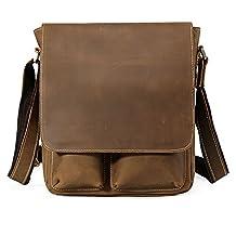 Tiding Men's Vintage Classic Genuine Leather Messenger Satchel Crossbody Shoulder Bag Light Brown