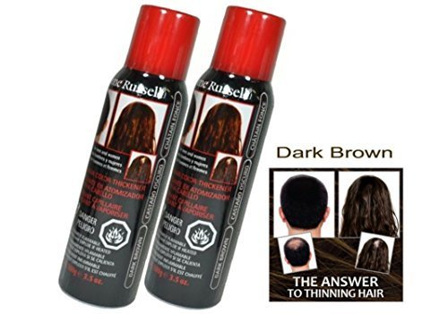 DARK BROWN Jerome Russell Spray on Hair Color Thickener (Easily covers up light to medium bald spots, hides gray, and makes hair look fuller) - Size 3.5 Oz (Pack of 2)