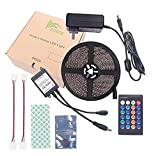 BIHRTC Waterproof IP65 Blue LED Light Strip Kit 5630 16.4 Ft 5M 300 LEDs 60 LEDs/m Flexible Tape Lighting Tape with 24 Keys IR Remote Controller and 12V 3A UL Listed Power Supply Adapter