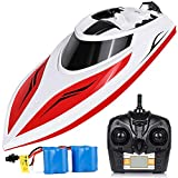 INTEY Remote Control Boat RC Boat 25KM/H High Speed Capsize Recovery Double Hatch for Waterproof Extra Rechargeable Batteries Use in Pools, Lakes for Kids, Adults