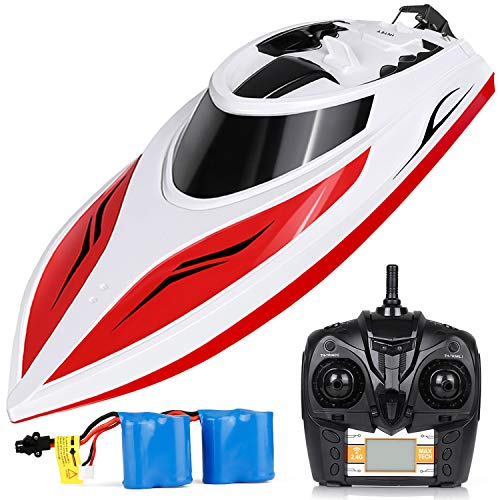 (INTEY Remote Control Boat RC Boat 25KM/H High Speed Capsize Recovery Double Hatch for Waterproof Extra Rechargeable Batteries Use in Pools, Lakes for Kids, Adults)