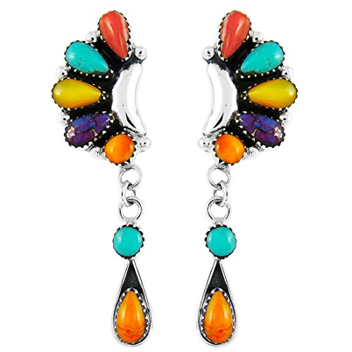 Sterling Spiny Oyster (Turquoise & Gemstone Earrings Sterling Silver (SELECT from different styles) (Blossom Drops))