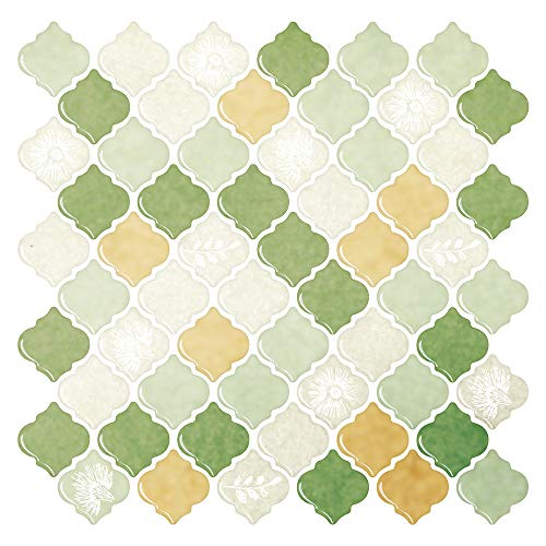 SHSYCER Peel and Stick Wall Tile,3D Self-Adhesive Backsplash for Kitchen | Green Arabesque Decorative Wall Sticker (10x10 inches,10 Sheets)