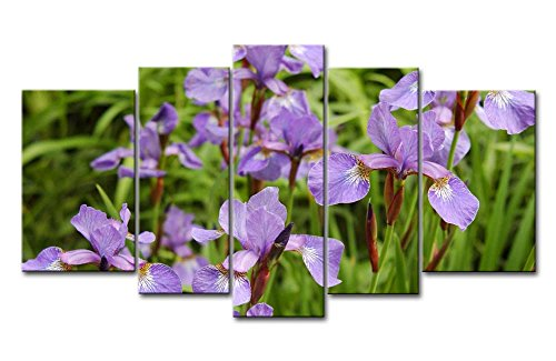 So Crazy Art - Canvas Print Wall Art Painting For Home Decor,Purple Iris In The Bushes 5 Pieces Panel Paintings Modern Giclee Stretched And Framed Artwork Oil The Picture For Living Room Decoration,Flower Pictures Photo Prints On Canvas (Framed Purple Iris)