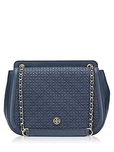 Tory Burch Bryant Quilted Leather Luggage Shoulder Bag (Navy - Tory Bag Blue Burch