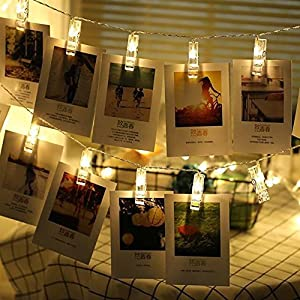 LED Photo Clip String Lights,20 LED Photo Clips USB Powered Lights,Design for Wedding Birthday Christmas Party Home Decoration Night Lights for Hanging Photos, Cards and Gifts