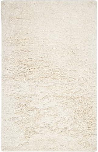 Surya Milan MIL-5003 Shag Hand Woven 80 New Zealand Wool 20 Pol Winter White 9 x 13 Area Rug