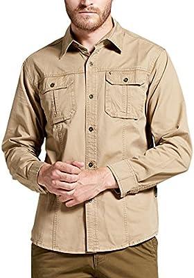 Hombre Camisas Manga Larga Militar Estilo Color Sólido Camiseta De Acampada Y Senderismo Caqui 2XL: Amazon.es: Deportes y aire libre