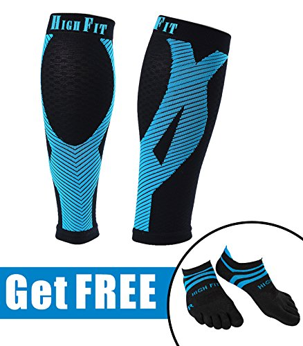 HIGH FIT Pro Calf Compression Sleeves - Enjoy Extra Support, Enhanced Performance & Faster Recovery. Offers EXTRA STRONG Compression and Support (1 Pair) by HIGH FIT