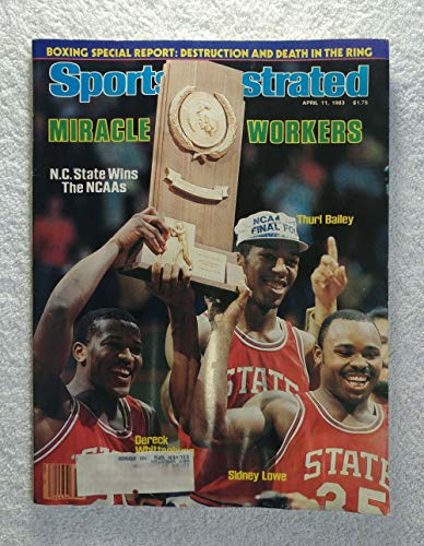 Thurl Bailey, Dereck Whittenburg & Sidney Lowe - NC State Wolfpack - 1983 National Champions! - Sports Illustrated - April 11, 1983 - Jim Valvano - College Basketball - SI