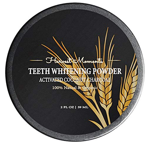 Teeth Whitening Activated Coconut Charcoal Powder - Powerful Teeth Whitener Helps You Boost Your Attractiveness & Confidence - 100% Organic & Natural (Best Way To Remove Tobacco Stains From Teeth)