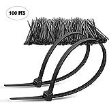 """8"""" Plastic Cable Zip Ties 100-Pack (Black)"""