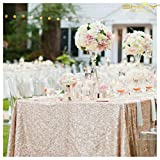 ShinyBeauty 60inx102in Sequin Tablecloth Wedding/Party-Champagne Blush