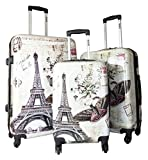 3pc Luggage Set Hardside Rolling 4wheel Spinner Carryon Travel Case Poly Paris Review