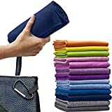 Micro-Miracle XL (30-Inch-by-60-Inch) Soft Microfiber Travel Towel with Hand Towel and Nylon Mesh Carry Bag, Navy Blue