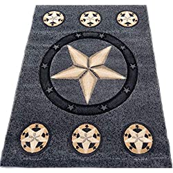 KJGRUG Texas Star Cowboy Western 4x6 Area Rug Gray Black Carpet Actual Size 3'9 x 5'1