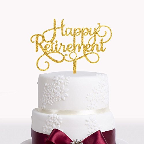 Happy Retirement Acrylic Cake Topper Party Sign Gold by waway (Image #1)