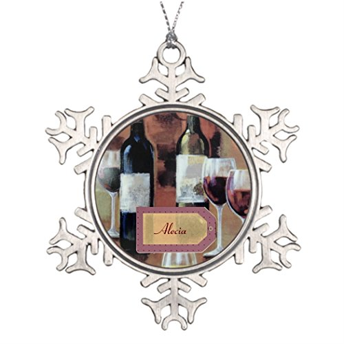 Price comparison product image Personalised Christmas Tree Decoration Glasses and Wine Bottle Name Tags Unique Snowflake Ornaments Moods Of Maggie
