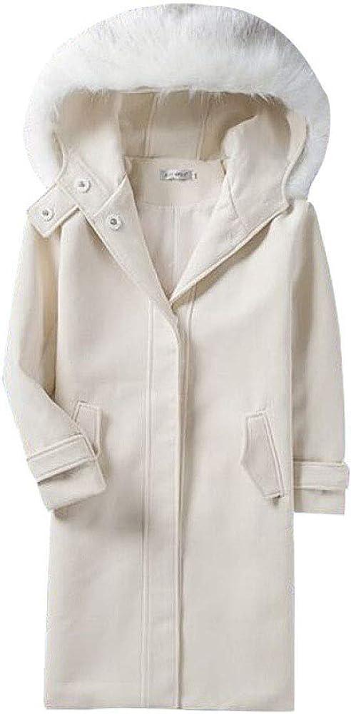 DFUCF Womens Woolen Coat Thicken Hooded Long Sleeve Slim Pea Coat Autumn Winter