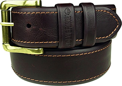 (Wolverine Men's Double Border Stitch Leather Belt 38 Brown)