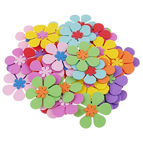Flower Felt Adhesive - LoveInUSA 160 PCS Foam Flower Shapes Sticker for Kids DIY Art Project Hand Craft(Not Self-Adhesive)