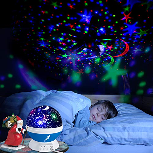Night Lights for Kids Star Light Projector Stars & Moon Roof-Christmas Gifts - Boys/Girls Bedroom Lights Toys - Room Ceiling Decor - Space Nightlight Projection (Blue)