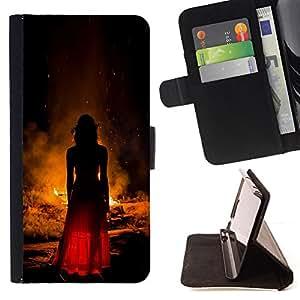 """For Samsung Galaxy J1 J100,S-type Moda Mujer Vestido Rojo Fuego"""" - Dibujo PU billetera de cuero Funda Case Caso de la piel de la bolsa protectora"""