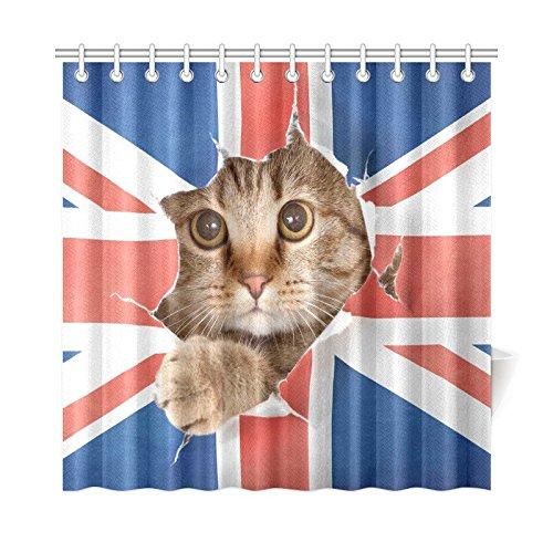 InterestPrint UK Union Jack Cat Kitten Polyester Fabric Shower Curtain Bathroom Sets Home Decor 72 X 72 Inches (Union Jack Shower Curtain compare prices)