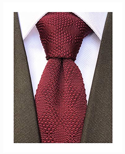 (Knit Skinny Tie Knitted Slim Tie for Men Boys Wine Red Burgundy Tie Trendy Suit Winter Plaid Patterned Necktie)