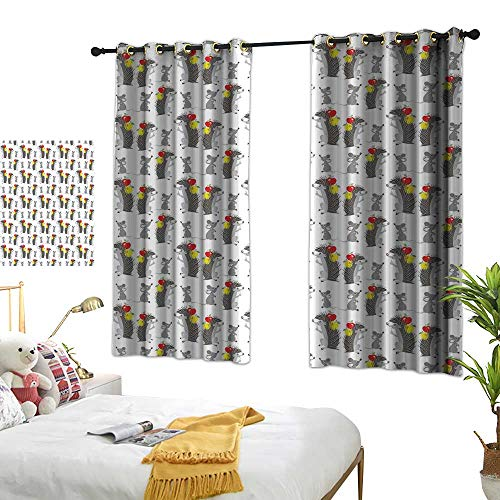 """Price comparison product image Mannwarehouse Simple Curtain Apple Funny Cartoon Hedgehog and Mouse Carrying Apples Happy and Playful Kids Design Environmental Protection 63"""" Wx63 L Suitable for Bedroom Living Room Study, etc."""