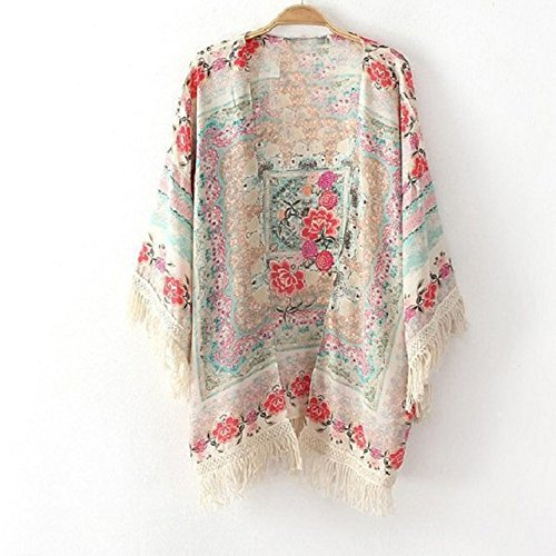 Heng Song – Women's Summer Tassels Floral Kimono Cardigan Cape Top Blouse Coat