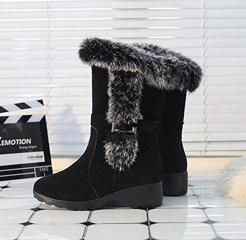 moda Zapatos nieve black cálido de salvaje botas mujer botas mujer espesado con KUKI de botas el casual de antideslizante talón TqTdf