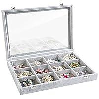 Valdler Velvet Stackable Jewelry Tray Showcase Display Storage Box