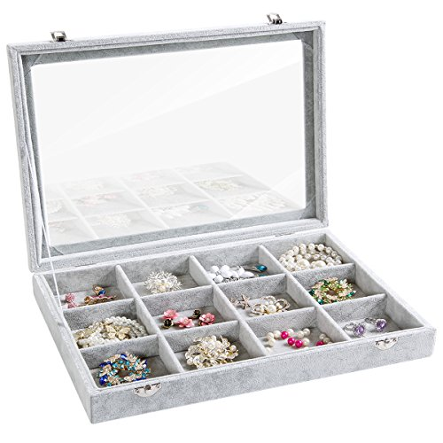 Jewelry Box Earring Display Case (Valdler Clear Lid Jewelry Tray Showcase Display Storag (12 Grid))