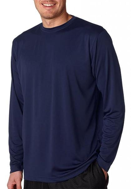 6aff2442 Ultraclub Mens Cool & Dry Sport Long-Sleeve Perf Interlock Tee 8422 -Navy  3XL