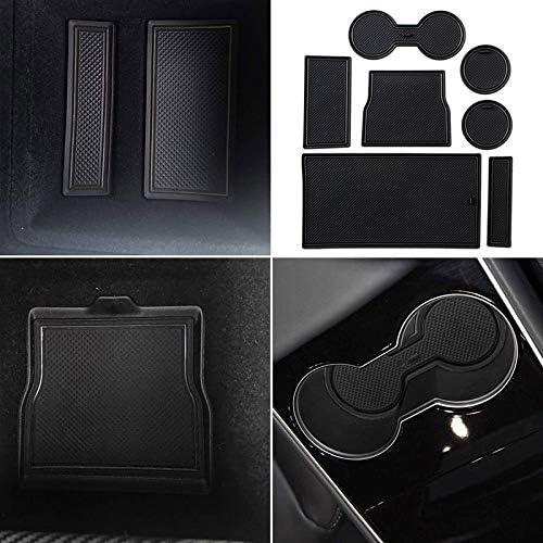 White Trim VANSSI 7pcs//set for Tesla Model 3 Accessories Center Console Mats Cup Holder Liner