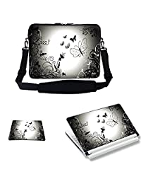 Meffort Inc 17 17.3 inch Neoprene Laptop Sleeve Bag Carrying Case with Adjustable Shoulder Strap & Matching Skin Sticker, Mouse Pad Combo - Dark Gary Butterfly