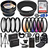 Ultimaxx 58MM Accessory Kit for Canon EOS Rebel T7, T6, T5, T3, T100, 4000D, 3000D, 2000D, 1500D, 1300D, 1200D 1100D, and More; Includes: 2X LP-E10 Batteries, 2.2X Telephoto Lens,and More