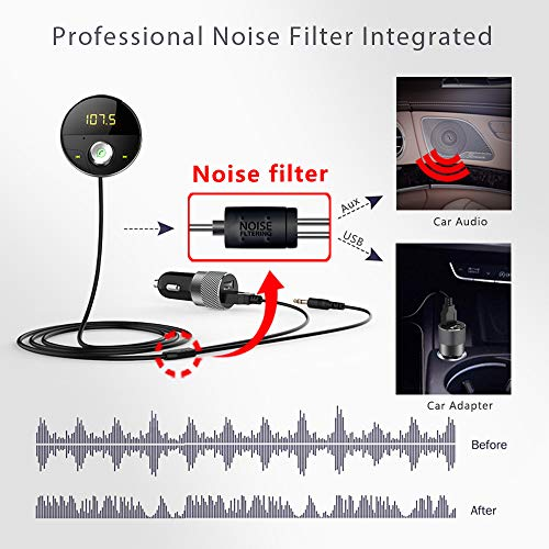 DEEWAZ Bluetooth Receiver Car Kit Built-in Noise Filter 3.5mm Jack Bluetooth Aux FM Transmitter Hands-Free Speaker Dual Usb Car Adapter Wireless Radio Audio & 3M Magnetic Mounts Base (Silver) by DEEWAZ (Image #3)