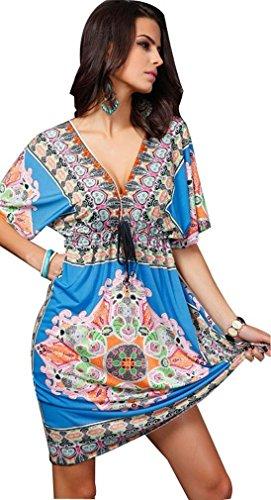 Creabygirls-Women-Sexy-V-neck-Boho-Summer-Floral-Tunic-Beach-Midi-Dress