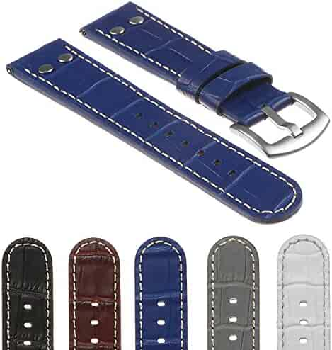 a0461f59585 DASSARI Quick Release Croc Embossed Mens Leather Pilot Watch Band Strap  w Rivets 18mm 20mm