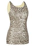 kayamiya Women's 1920S Style Glitter Sequined Vest Tank Tops S Champagne