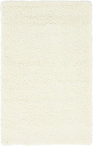 "Unique Loom Solid Shag Collection Snow White 3 x 5 Area Rug (3' 3"" x 5' 3"")"
