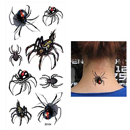 BLACK WIDOW spider killer 8 temporary tattoos scar cover up waterproof body makeup stretch mark cover up fake tattoo cover up anime manga spiderman homecoming superheroes party decor cosplay party toy ()